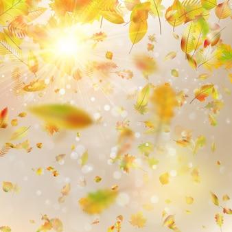 Herfst feestelijke achtergrond met bladeren en blauwe hemel. en omvat ook