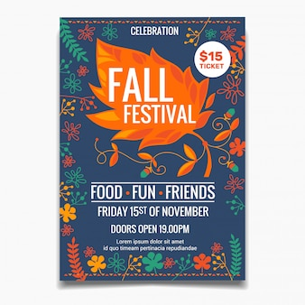 Herfst festival poster sjabloon