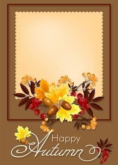 Herfst floral achtergrond met happy herfst tekst.