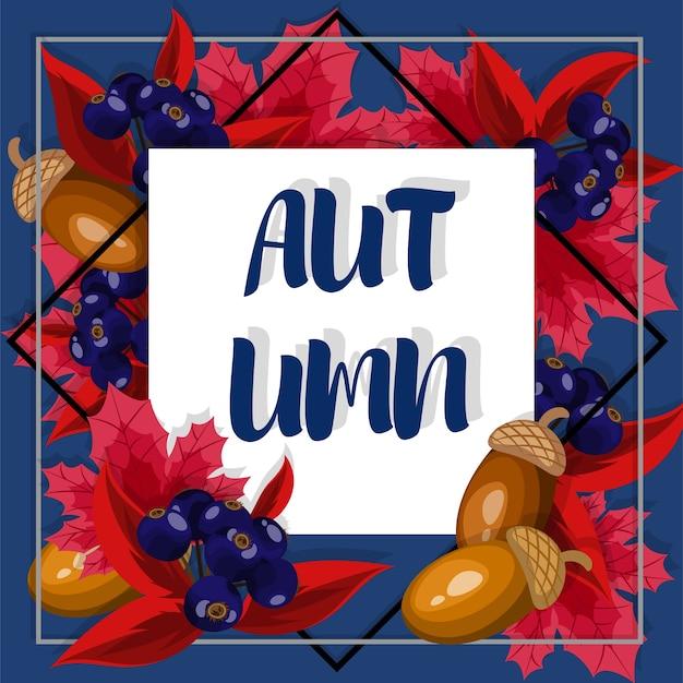 Herfst floral achtergrond met herfst tekst.