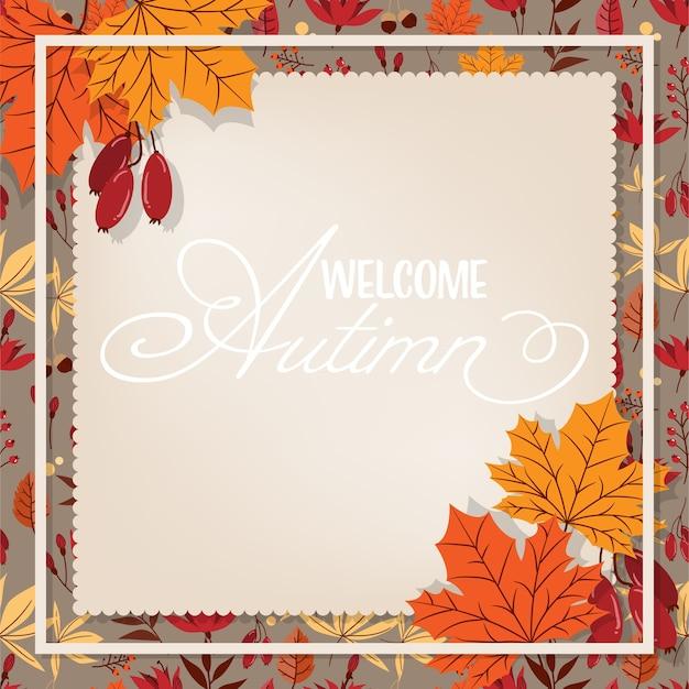 Herfst floral achtergrond met welkom herfst tekst.
