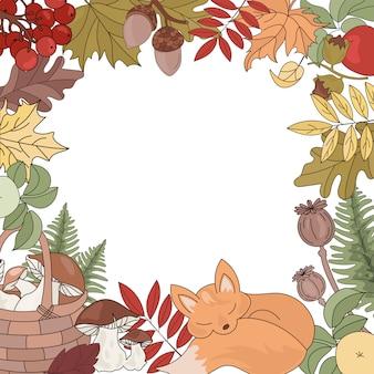 Herfst frame achtergrond dier seizoen natuur