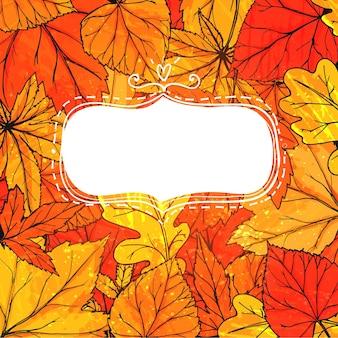 Herfst frame met hand getrokken gouden bladeren. vector herfstontwerp voor advertenties, wenskaarten en sociale media-inhoud.
