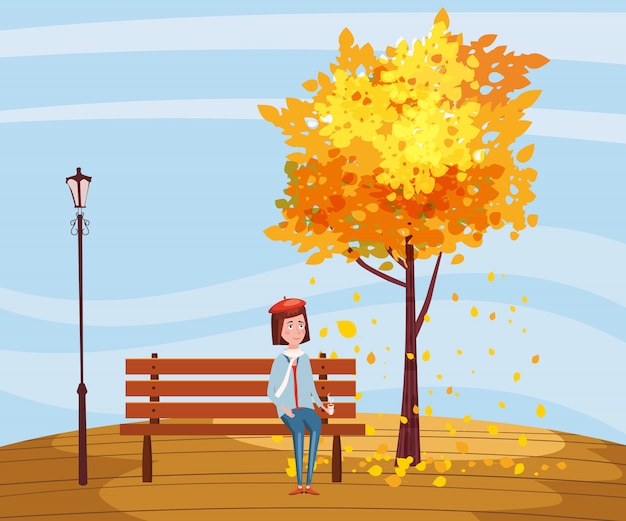 Herfst, gelukkig meisje zittend op een bankje met een kopje koffie