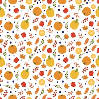 Herfst gezellig naadloos patroon met pompoenen, appels, citroenen, bessen en bladeren. leuke achtergrond voor textiel, inpakpapier. vector hand getekende cartoon afbeelding.