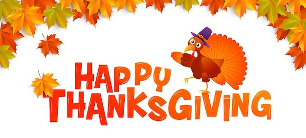 Herfst, happy thanksgiving, typografie, turkije, vector