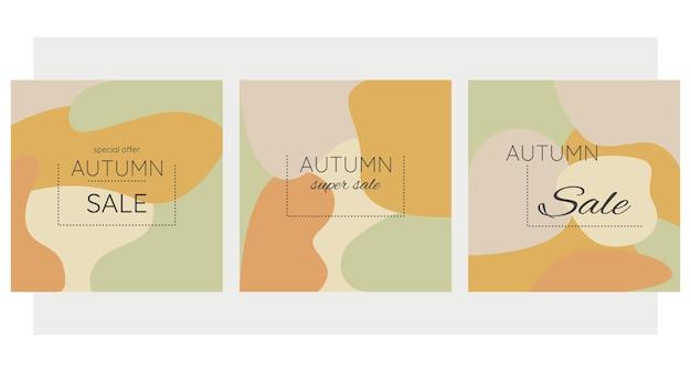 Herfst herfst banners verkoop abstracte achtergrond collectie herfst verkoop sociale media reclame inhoud