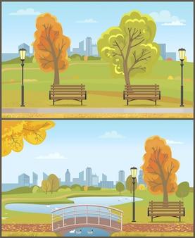 Herfst herfst park ingesteld