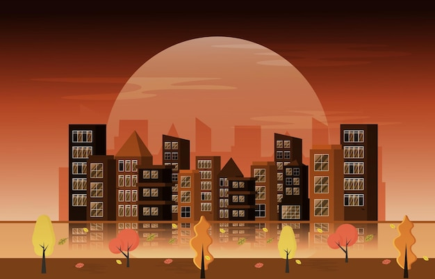 Herfst herfst seizoen grote maan stad gebouw stadsgezicht platte ontwerp illustratie