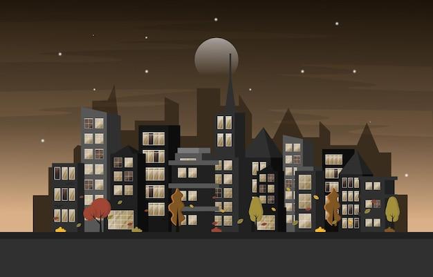 Herfst herfst seizoen nacht stad gebouw stadsgezicht uitzicht platte ontwerp illustratie