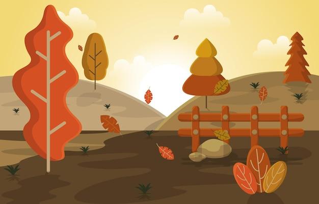 Herfst herfst seizoen platteland heuvels natuur landschap illustratie