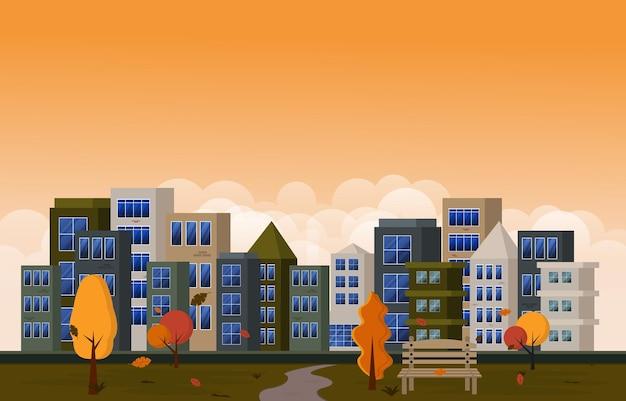 Herfst herfst seizoen stadspark gebouw bomen stadsgezicht platte ontwerp illustratie