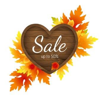 Herfst herfst verkoop flyer banne sjabloon en tekst op heldere herfst esdoorn bladeren