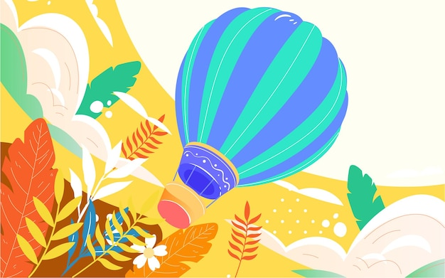 Herfst hete luchtballon reizen illustratie hemel vlucht avontuur reizen poster
