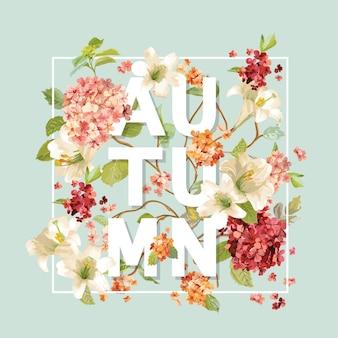 Herfst hortensia bloemen achtergrondontwerp. t-shirt grafisch, mode print.