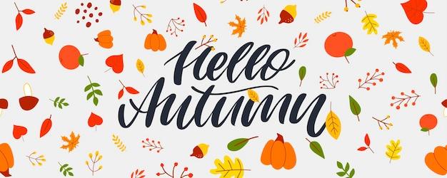 Herfst illustratie banner vector herfst belettering kaart