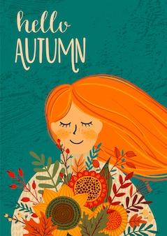 Herfst illustratie met schattige vrouw