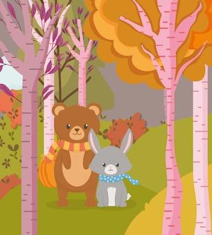 Herfst illustratie van schattige beer en konijn dieren bos