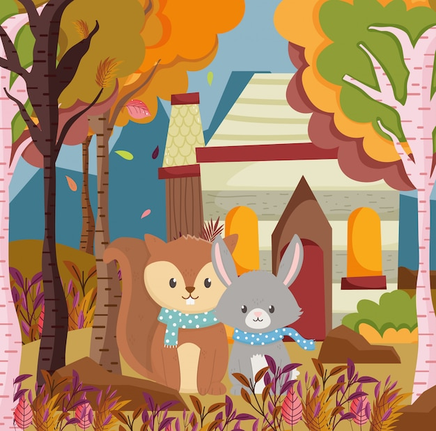 Herfst illustratie van schattige eekhoorn en konijn cottage bos
