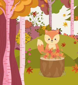 Herfst illustratie van schattige eekhoorn in de kofferbak met bladeren bos