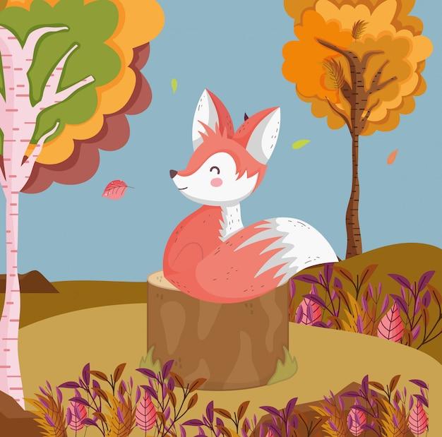 Herfst illustratie van schattige vos in het veld