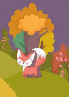Herfst illustratie van schattige vos met boom gebladerte