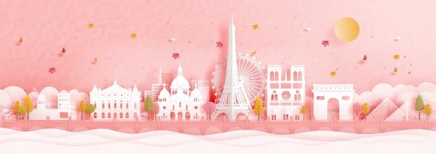 Herfst in parijs, frankrijk met beroemde bezienswaardigheid