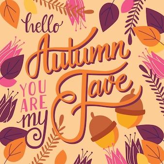 Herfst je bent mijn favoriete belettering Premium Vector