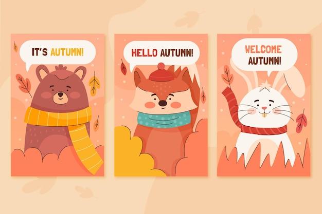 Herfst kaart collectie met dieren