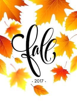 Herfst kalligrafie. achtergrond van herfstbladeren. concept folder, flyer, poster reclame. vectorillustratie eps10