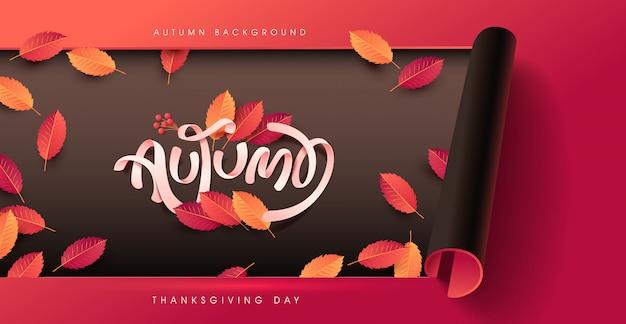 Herfst kalligrafie. seizoensgebonden belettering achtergrond