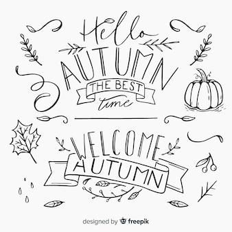 Herfst kalligrafische set handgeschreven