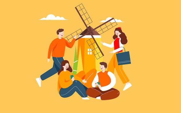 Herfst karakters buitenactiviteiten illustratie herfst vrienden reizen herfst uitje poster