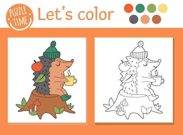 Herfst kleurplaat voor kinderen. leuke grappige egel met kopje thee zittend op de boomstronk. vector herfst seizoen overzicht illustratie. bosdieren kleurboek voor kinderen met gekleurd voorbeeld
