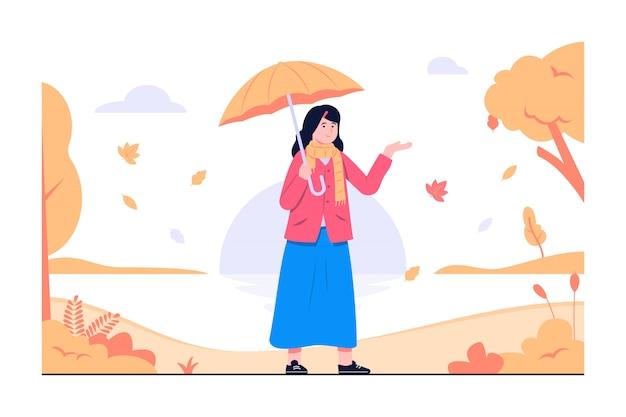 Herfst komt concept illustratie