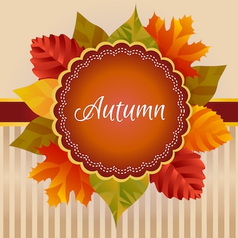 Herfst krans kaart herfstbladeren decoratie