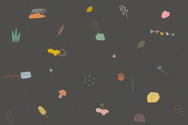 Herfst krijt doodles patroon achtergrond