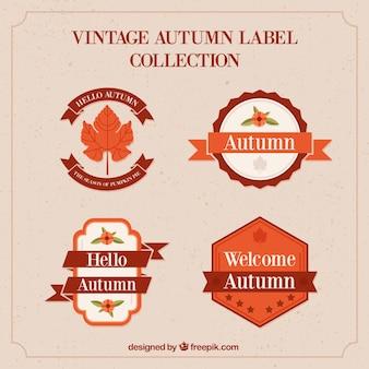 Herfst labels-collectie in vintage stijl