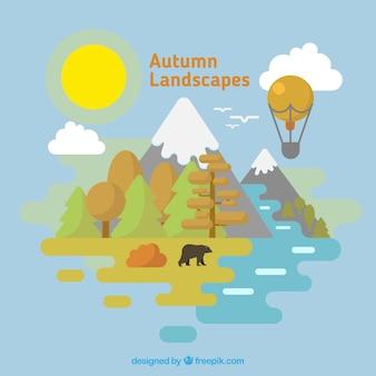 Herfst landschap met beer en heteluchtballon