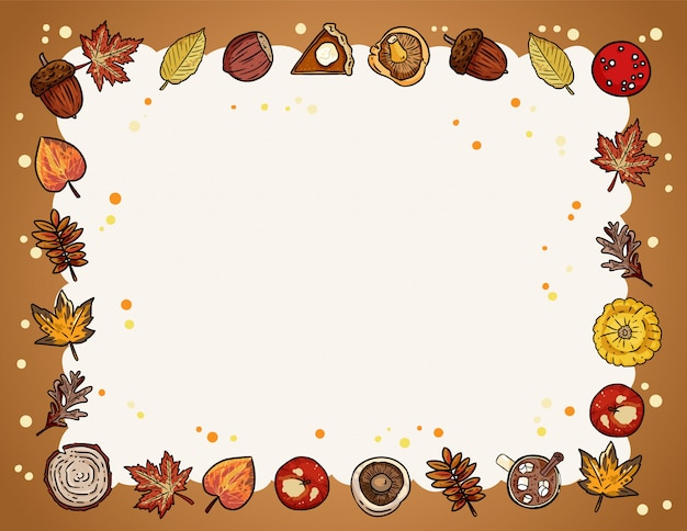 Herfst leuke gezellige frame achtergrond met herfst elementen.