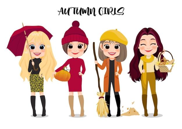 Herfst meisje groep stripfiguur buitenactiviteiten cartoon op witte achtergrond vectorillustratie