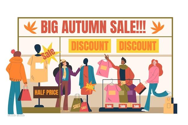 Herfst mensen verkoop winkelcentrum