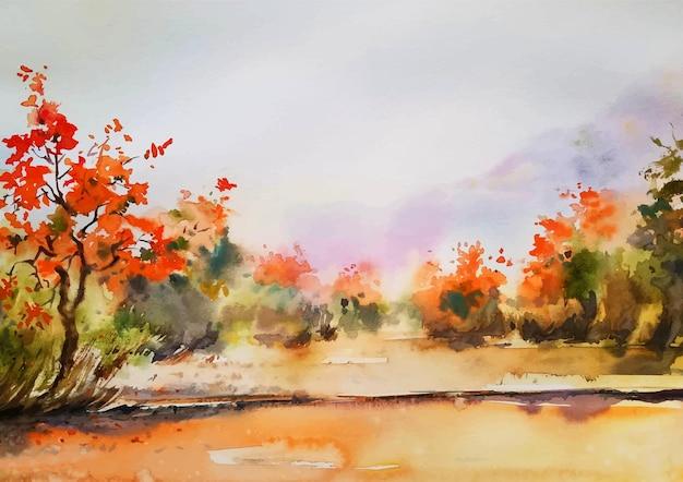 Herfst met kleuren aquarel schilderen