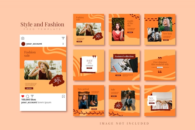 Herfst mode social media puzzel post feed template collectie