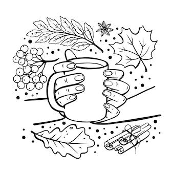 Herfst mok in handen fall garden nature hand getekend platte ontwerp cartoon monochrome clip art vector