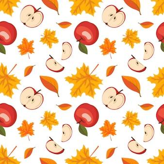 Herfst naadloos patroon met esdoorn bladeren en rode appels oogst en herfst print