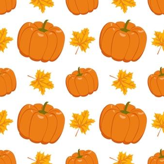 Herfst naadloos patroon met gemberpompoenen en esdoornbladeren print voor halloween thanksgiving texti...