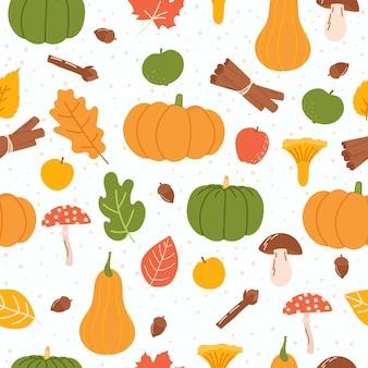 Herfst naadloos patroon met pompoenbladeren, paddestoelen, kruidnagel, kaneel en appels