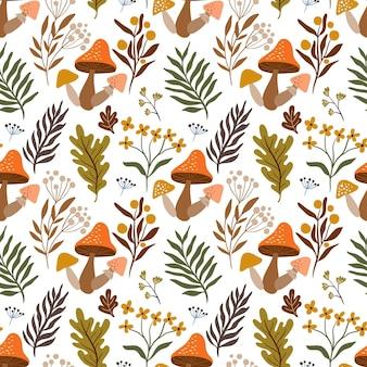 Herfst naadloos patroon met seizoensgebonden elementen, paddenstoelen en plantaardige ingrediënten op witte achtergrond