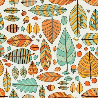 Herfst naadloze blad patroon in de hand getekend